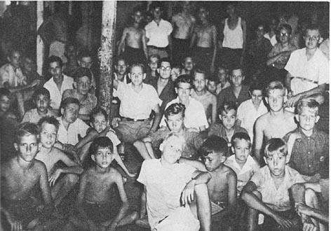 Boys photographed in the Ambarawa 7 Japanese Concentration Camp. My father says he is the third back from center.