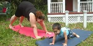 Moms and kids love to play with Storytime Yoga at Studio Solis in Deland, Florida.