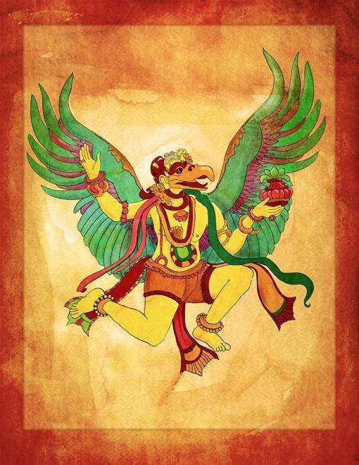 Garuda, King of the Birds. Copyright 2013 The Mythic Yoga Studio LLC. Storytime Yoga for Kids. Illustration by András Balogh