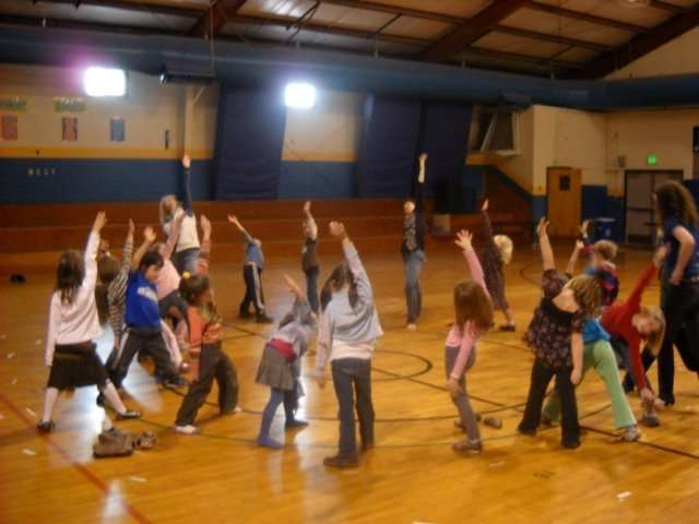Storytime Yoga® at Haitian Relief at Lyons Elementary School, Lyons, Colorado 2010.