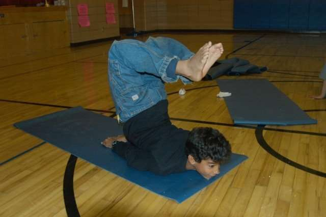 Storytime Yoga® for Kids after school class at Creekside Elementary School, Boulder, Colorado 2006.