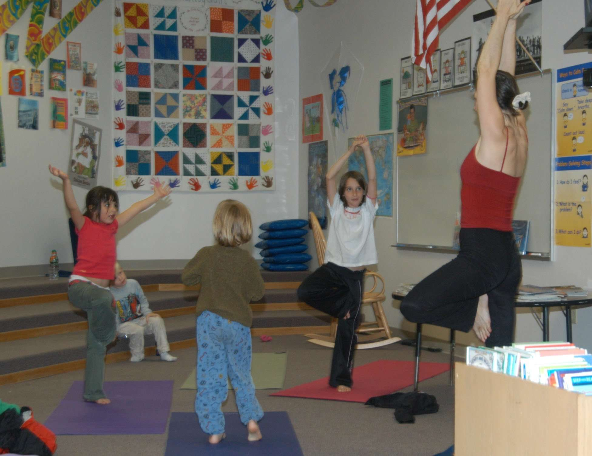 Storytime Yoga® in the Library after school program, Shelton Elementary Golden, Colorado in 2005