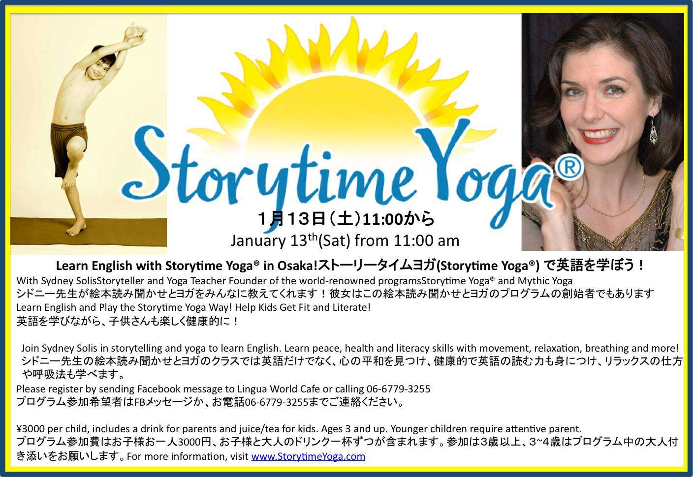 Storytime Yoga for Kids at Lingua World Cafe in Osaka, Japan